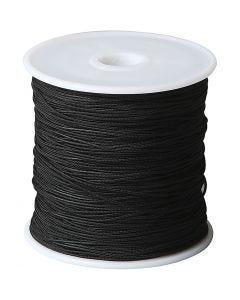 Cuerda poliéster, grosor 1 mm, negro, 50 m/ 1 rollo
