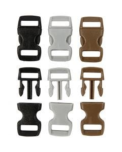 Cierre click, L. 29 mm, A: 15 mm, medida agujero 3x11 mm, negro, marrón, gris, 100 ud/ 1 paquete