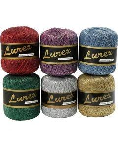 Hilo Lurex, L. 160 m, surtido de colores, 6x25 gr/ 1 paquete