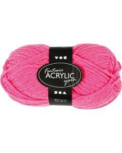 Fantasia lana acrílica, L. 80 m, rosa neón, 50 gr/ 1 bola