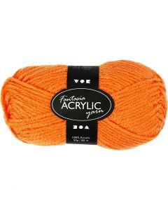 Fantasia lana acrílica, L. 80 m, naranja neón, 50 gr/ 1 bola