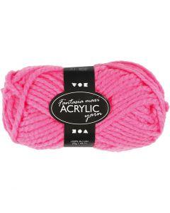 Fantasia lana acrílica, L. 35 m, medidas maxi , rosa neón, 50 gr/ 1 bola