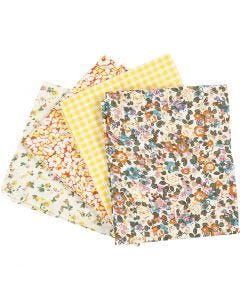 Tela para patchwork, medidas 45x55 cm, 100 gr, amarillo, 4 ud/ 1 fajo