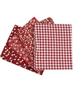 Tela para patchwork, medidas 45x55 cm, 100 gr, rojo, 4 ud/ 1 fajo