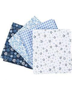 Tela para patchwork, medidas 45x55 cm, 100 gr, azul, 4 ud/ 1 fajo