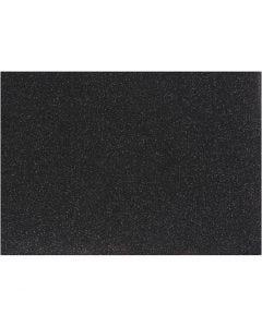 Foil para planchar, 148x210 mm, purpurina, negro, 1 hoja