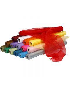 Tela de organza, A: 50 cm, surtido de colores, 16x6 rollo/ 1 paquete