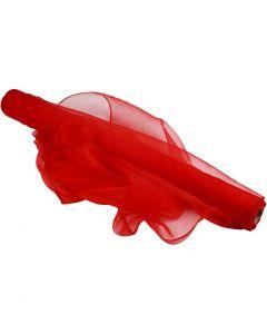 Tela de organza, A: 50 cm, rojo, 10 m/ 1 rollo