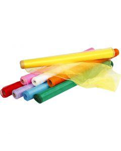 Tela de organza, A: 50 cm, surtido de colores, 8x10 m/ 1 paquete