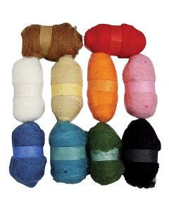 Surtido de lana cardada, surtido de colores, 10x25 gr/ 1 paquete