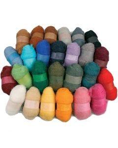 Surtido de lana cardada, surtido de colores, 26x25 gr/ 1 paquete