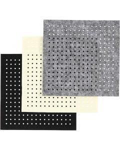 Fieltro para manualidades con agujeros, grosor 3 mm, negro, gris, blanquecino, 3x4 hoja/ 1 paquete