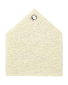 Figura de fieltro, medidas 6,5x7,5 cm, grosor 3 mm, blanquecino, 5 ud/ 1 paquete