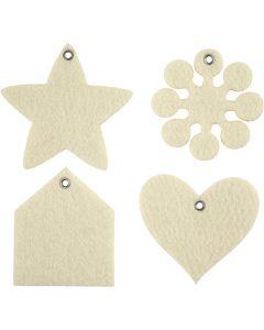 Figura de fieltro, medidas 6,5-9 cm, grosor 3 mm, crema, 4x25 ud/ 1 paquete