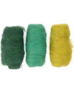 Lana cardada, verde/blanco, 3x10 gr/ 1 paquete