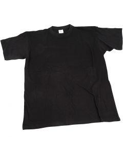 Camiseta, A: 40 cm, medidas 7-8 año, cuello redondo, negro, 1 ud