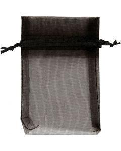 Bolsas de organza, medidas 7x10 cm, negro, 10 ud/ 1 paquete