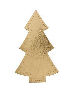 Árbol de Navidad, A: 18 cm, A: 11 cm, 350 gr, dorado, 4 ud/ 1 paquete