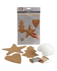Adornos navideños de cuero sintético, grosor 0,55 mm, natural, 1 set