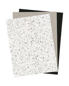 Papel imitación cuero, 21x27,5+21x28,5+21x29,5 cm, grosor 0,55 mm, una cara de color,detalle metalizado,impresa, 3 hoja/ 1 paquete