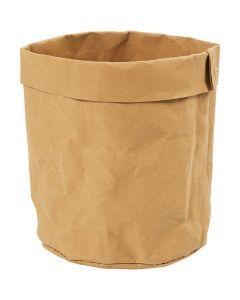Bolsa de papel imitación al cuero , A: 12 cm, dia: 11 cm, 350 gr, marrón claro, 1 ud