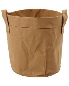Bolsa de papel imitación al cuero , A: 20 cm, dia: 19,5 cm, 350 gr, marrón claro, 1 ud