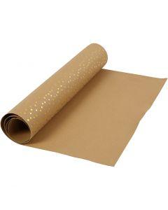 Papel imitación cuero, A: 50 cm, una cara de color,detalle metalizado, 350 gr, marrón claro, dorado, 1 m/ 1 rollo