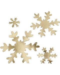 Copo de nieve, dia: 3+5+8+10 cm, 350 gr, dorado, 16 ud/ 1 paquete
