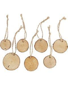 Disco de madera con agujero para cuerda, dia: 35-45 mm, grosor 7 mm, 7 ud/ 1 paquete