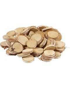 Discos de madera con agujero, dia: 35-45 mm, medida agujero 4 mm, grosor 7 mm, 500 gr/ 1 paquete