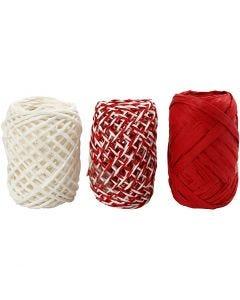 Cordel de papel, rojo / blanco, 3x10 m/ 1 paquete