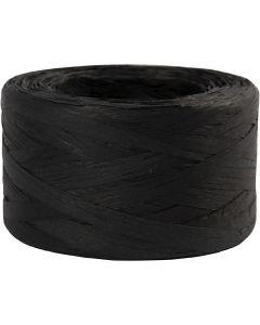 Hilo de rafia de papel, A: 7-8 mm, negro, 100 m/ 1 rollo