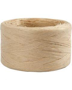 Hilo de rafia de papel, A: 7-8 mm, arena, 100 m/ 1 rollo