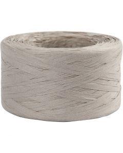 Hilo de rafia de papel, A: 7-8 mm, gris claro, 100 m/ 1 rollo