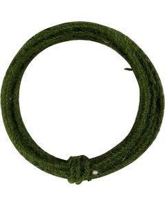 Alambre de yute, grosor 2-4 mm, verde, 3 m/ 1 paquete