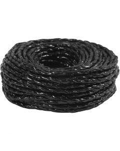 Cordón de papel, grosor 3,5-4 mm, negro, 25 m/ 1 rollo