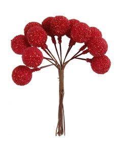 Bayas artificiales, dia: 15 mm, rojo navideño, 12 ud/ 1 paquete