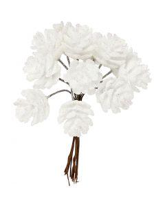 Piñas artificiales, dia: 20 mm, blanco, 12 ud/ 1 paquete