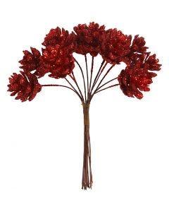 Piñas artificiales, dia: 20 mm, rojo navideño, 12 ud/ 1 paquete