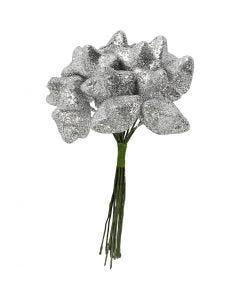 Estrella, dia: 25 mm, plata, 12 ud/ 1 paquete