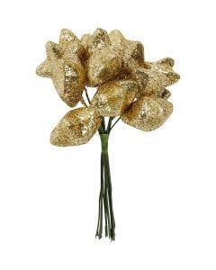 Estrella, dia: 25 mm, dorado, 12 ud/ 1 paquete