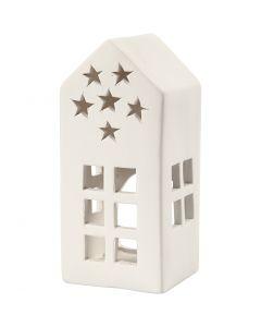 Candelabro para velas pequeñas, A: 16 cm, medidas 7x7 cm, blanco, 8 ud/ 1 caja