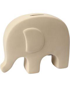 Hucha elefante, A: 14 cm, L. 16,7 cm, blanco, 8 ud/ 1 caja