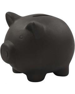 Hucha cerdito, A: 10 cm, L. 10,5 cm, negro, 8 ud/ 1 caja