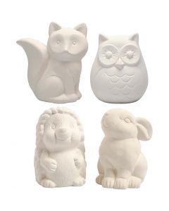 Hucha animal, A: 9-10 cm, blanco, 4 ud/ 1 caja