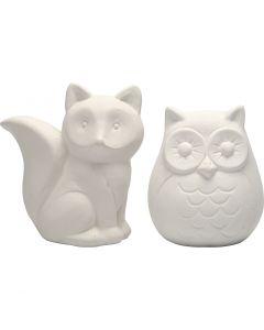 Hucha animal, A: 9 cm, blanco, 2 ud/ 1 caja
