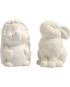 Hucha animal, A: 10 cm, blanco, 2 ud/ 1 caja