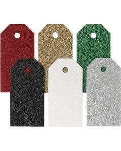 Tarjetas de regalo, medidas 5x10 cm, 300 gr, surtido de colores, 6x15 ud/ 1 paquete