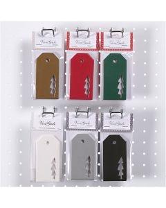 Tarjetas de regalo, árbol de navidad, medidas 5x10 cm, 300 gr, 6x10 paquete/ 1 caja