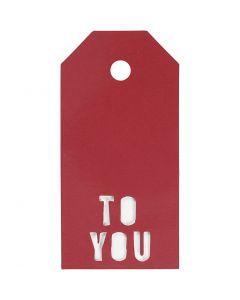 Eiquetas regalo, TO YOU, medidas 5x10 cm, 300 gr, rojo, 15 ud/ 1 paquete